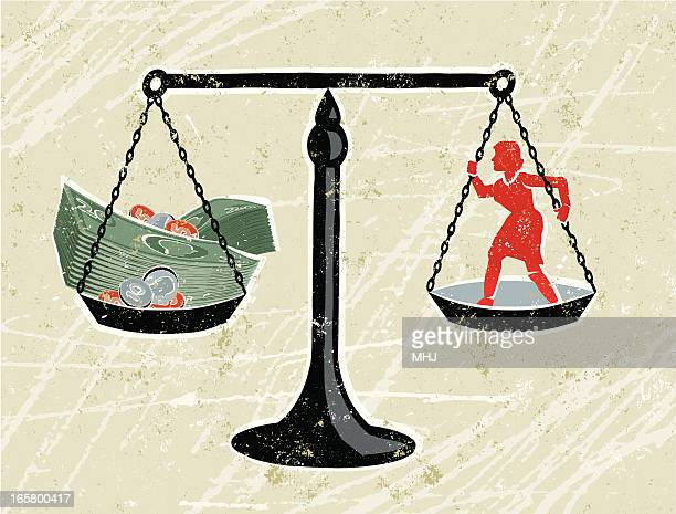 Scales with Business Woman and Money