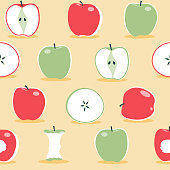 A seamless pattern of apples in the scandinavian style.