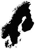 vector illustration of Scandinavia map