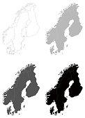 vector illustration of Scandinavia maps