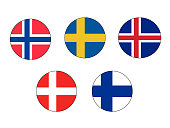 Vector illustration of Scandinavian Flags Set