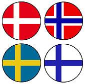 vector illustration of Scandinavian flags