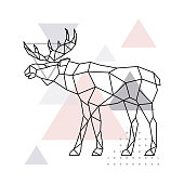 Scandinavian moose, side view. Geometric vector illustration.
