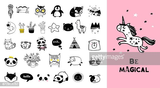 Scandinavian style, simple design, clean and cute black, white illustrations, collection of children doodles, sketches : stock vector
