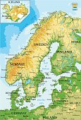Highly detailed physical map of Scandinavia and