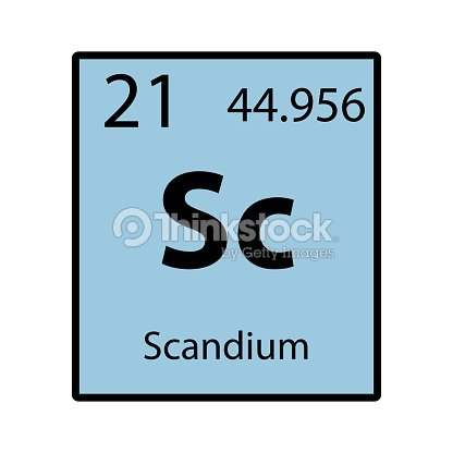 Scandium Periodic Table Element Color Icon On White Background