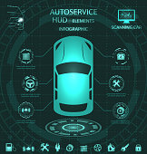 Scanning Car, Analysis and Diagnostics Vehicle, HUD Elements, Service Infographics with Icons - Illustration Vector