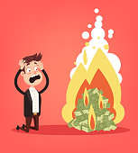 Scared screaming office worker businessman entrepreneur man character looking on burning fire heap of money dollars currency paper note. Cash burn commercial banking bankruptcy crisis. Financial fail