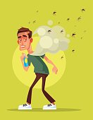 Scary afraid man fight with insect by spray. Vector flat cartoon illustration