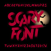Scary alphabet font. Dirty letters, numbers and symbols. Hand drawn vector typography for your headers or any typography design.