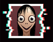 Scary female demon with big eyes and wide smile for halloween holiday. Vector illustration EPS10