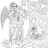 Gothic girl with Halloween cosplay holding decorative pumpkin standing in front of dry tree with face shape for coloring book, color page for anti stress.