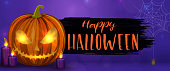 Carved Halloween pumpkins, horizontal banner. Colorful scary Halloween illustration. Vector
