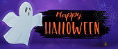 Happy Halloween and ghost, horizontal banner. Colorful scary Halloween illustration. Vector