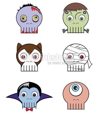 coleção de monstro skulls um pouco assustador de halloween conjunto