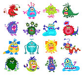 Scary monster vector. Set of colored monsters with teeth and eyes, illustration of funny monsters