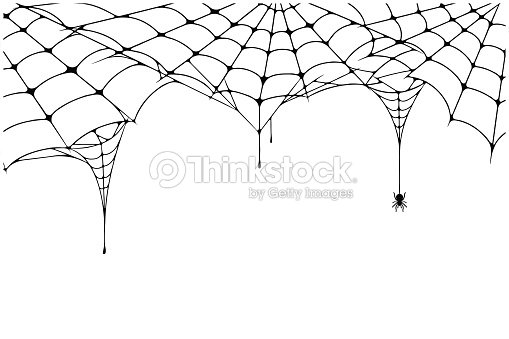 Scary spider web background. Cobweb background with spider. Spooky spider web for Halloween decoration : arte vettoriale
