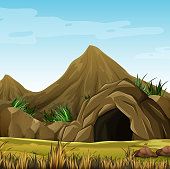 Scene with cave in the mountain illustration