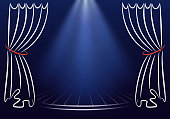 Scene with curtains and spotlights. Announcement vector template. Backstage