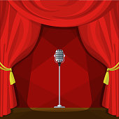 Scene with red curtains and retro microphone. Vector illustration in cartoon style. Concert show entertainment, musical theater event