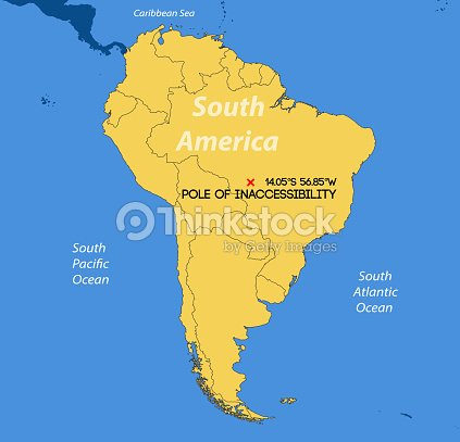 Schematic Vector Map South American Pole Of Inaccessibility Vector ...
