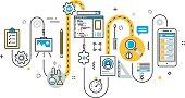 Flat line illustration concept of graph, plan, scheme, algorithm, step of mobile application development process, app design, programming, coding, building and debugging for website banner