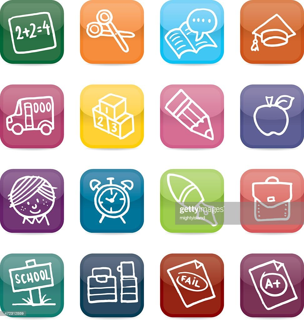School And Education Icon Set Vector Art | Getty Images