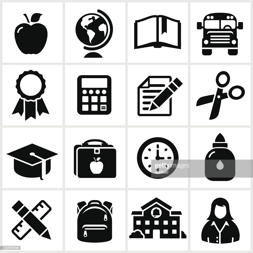 black school icons vector art