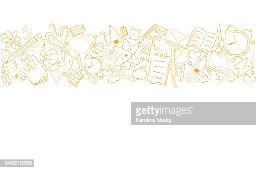 School background with funny sketch and copyspace. Vector. : Arte vetorial
