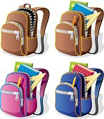 School backpack in 4 different versions.