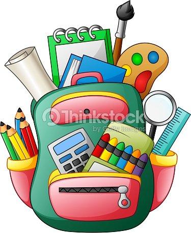Cartable avec des fournitures scolaires clipart vectoriel - Clipart cartable ...