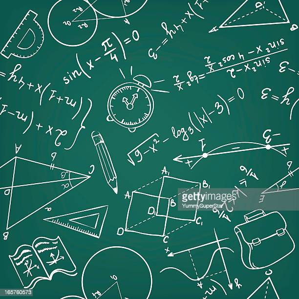 A school blackboard with filled with mathematical data