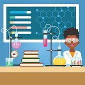 Chemistry class vector illustration. School boy with chemistry equipment