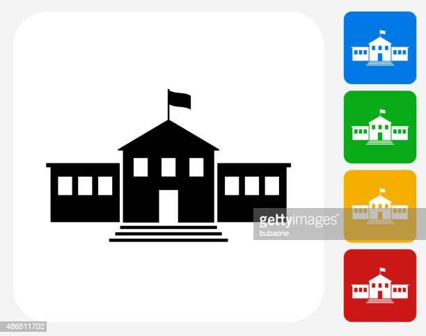 School Building Icon Flat Graphic Design