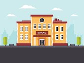 School building in a city. Flat design style.