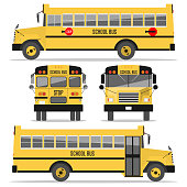 School bus. Isolated on white background. Illustration in a flat style