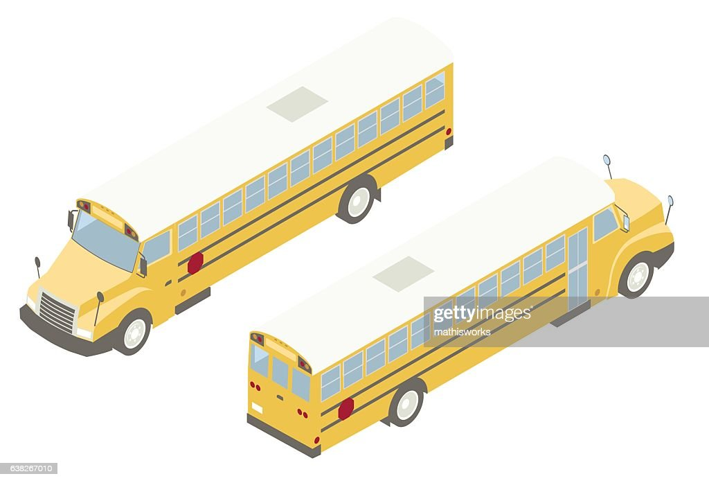 School Bus Isometric Illustration : Vector Art