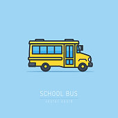School Bus simple vector illustration in flat linework style