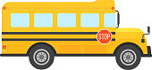 Illustration of school kids riding yellow schoolbus transportation education. Student child isolated school bus safety stop drive vector. Travel automobile school bus public trip childhood truck.