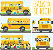 Illustration of school kids riding yelliw schoolbus transportation education. Student child isolated school bus safety stop drive vector. Travel automobile school bus public trip childhood truck.
