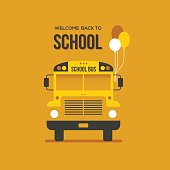School bus front view with three balloons on bright orange background. Back to school creative banner design.