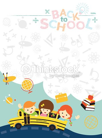 School Bus With Student And Education Icons Frame Vector Art ...
