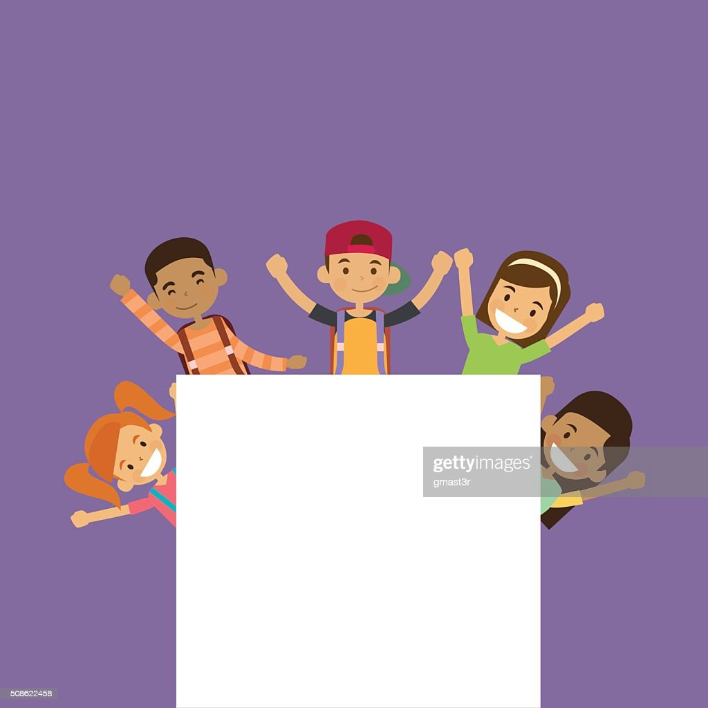 School Children Group With Empty Copy Space : Vector Art
