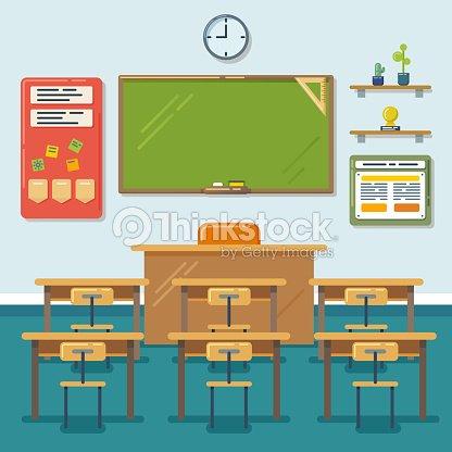 schule klassenzimmer mit tafel und schreibtisch vektor. Black Bedroom Furniture Sets. Home Design Ideas