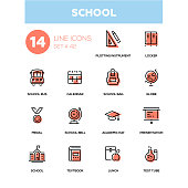 School concept - line design icons set. Educational theme. Plotting instrument, locker, bus, calendar, bag, globe, medal, bell, academic hat, presentation, textbook, lunch, test tube