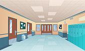 School corridor. Bright college interior of big hallway with doors classroom with desks without kids vector cartoon picture. Interior of corridor hallway, floor and entrance highschool illustration