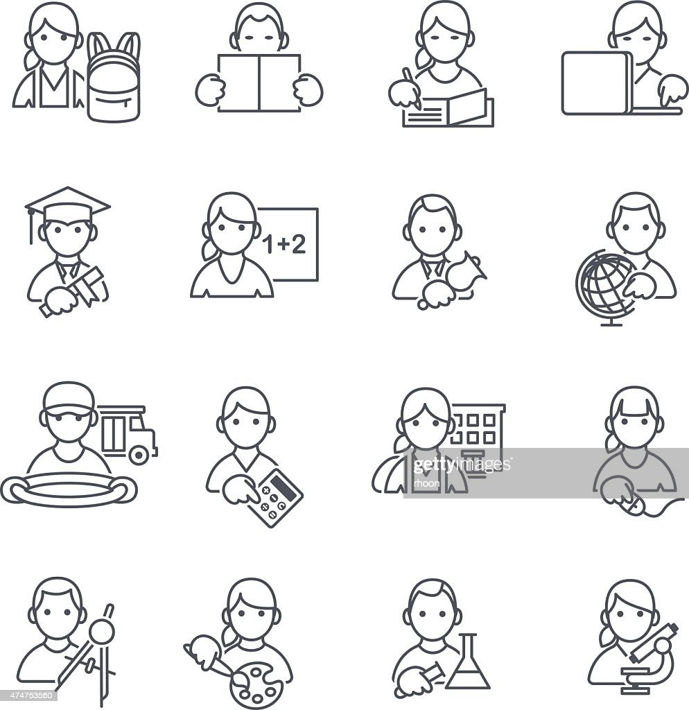 kids education icons vector art getty images