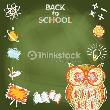 School Education Owl With Icons Frame Chalk Drawing Style Vector Art ...
