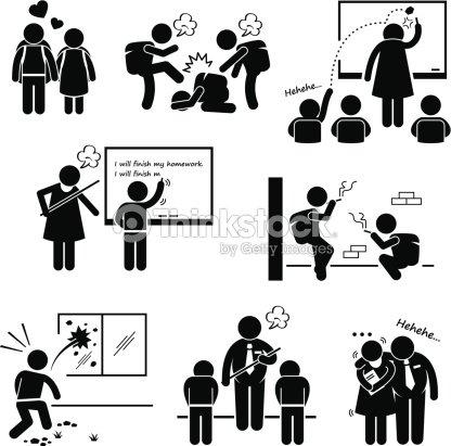 School Education Social Problem Stick Figure Pictogram Icon
