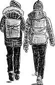 Vector sketch of the walking school children.